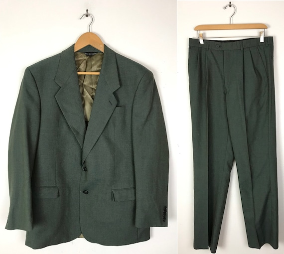 Vintage Green Two Piece Suit Mens Size 39R & 33W,