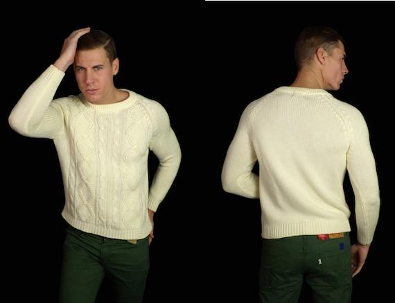 80s Cream Cable Knit Sweater Mens Medium, Cream Sweater, Cable Knit  Sweater, Classic Sweater, Preppy Sweater,Pullover Sweater,Cable Knit,80s