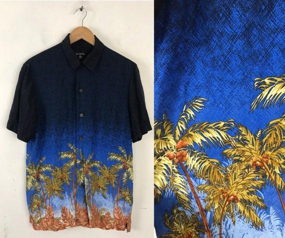 Palm Tree Hawaiian Shirt, 90s Blue & Green Shirt,