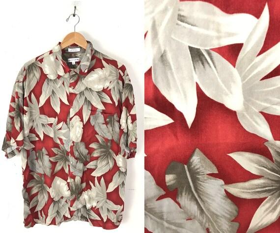 90s Pierre Cardin Red & Brown Floral Hawaiian Shir