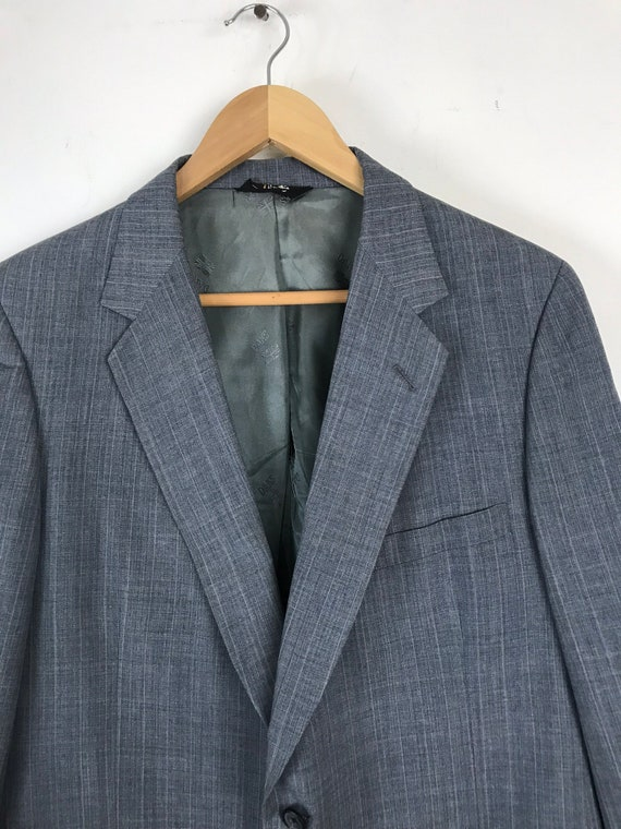 70s Blue Gray Pinstriped Two Piece Suit Mens Size… - image 3
