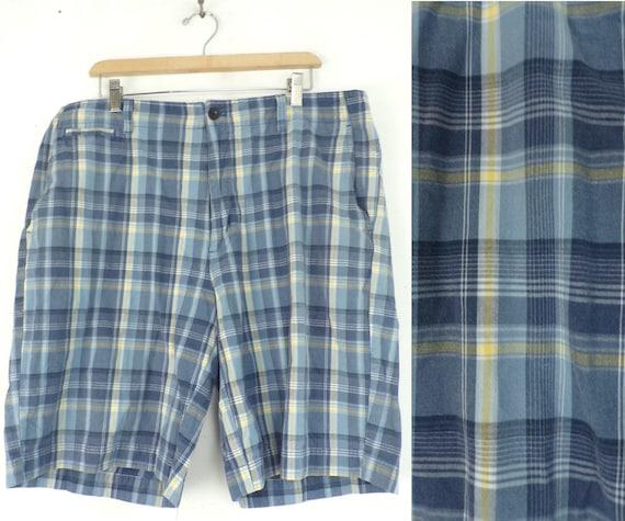 90s Chaps Blue & Yellow Plaid Shorts Mens Size 38,