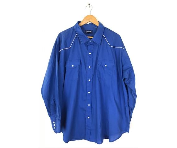 Vintage Blue Western Shirt Mens 4X, 80s Classic Pe