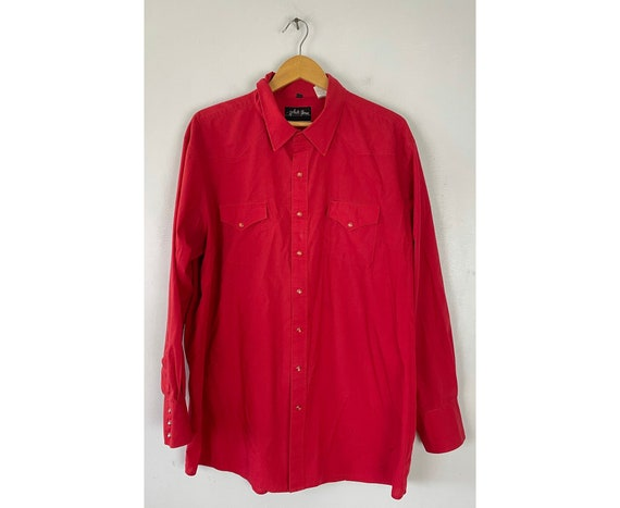 Vintage Red Western Shirt Mens Size XXL, 90s Red S