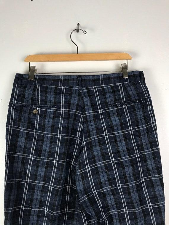 Vintage Dark Blue Plaid Wide Leg Dress Pants Mens… - image 6