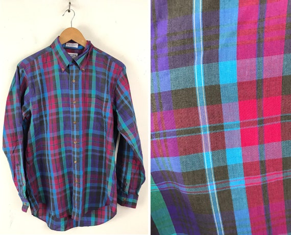 80s Pink Green Blue Plaid Button Down Shirt Mens M