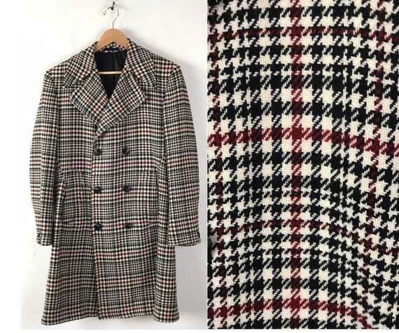 70s Black Red & Cream Houndstooth Double Breasted