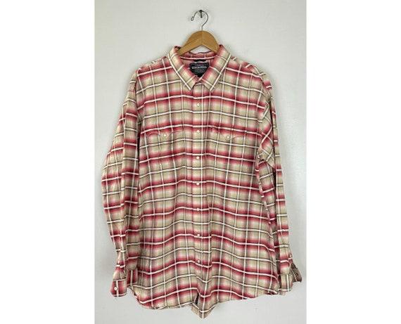 Vintage Brown & Red Plaid Western Shirt Mens XXL,