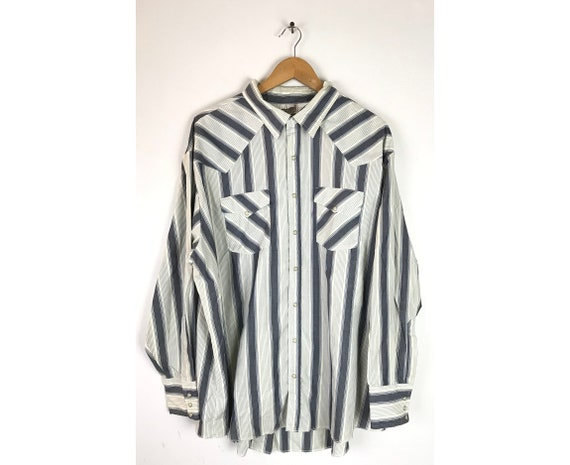 Vintage Blue & White Striped Western Shirt Mens SI