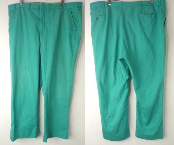 Vintage Mens Teal Pants, 1980s Size 44x29, Teal Pa