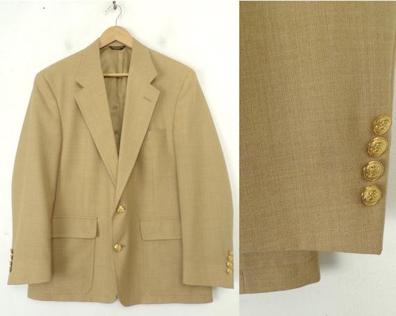 80s Tan Sport Coat Mens Size 42, Gold Buttons, Vin