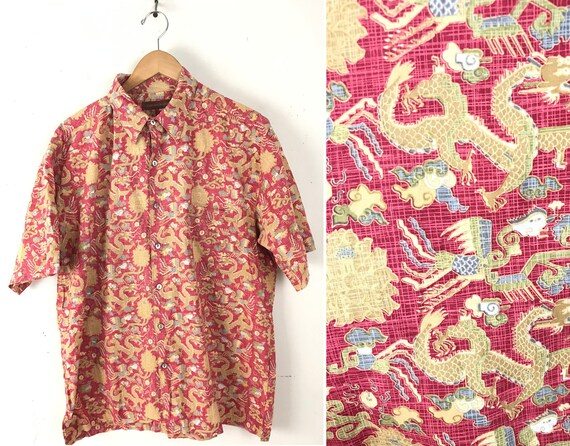 90s Tori Richard Red Dragon Print Hawaiian Shirt M
