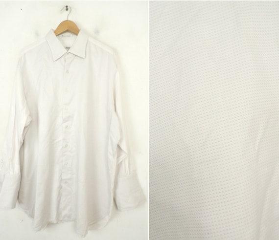 Vintage White Print French Cuff Dress Shirt Mens S