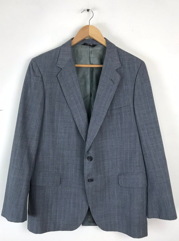 70s Blue Gray Pinstriped Two Piece Suit Mens Size… - image 2