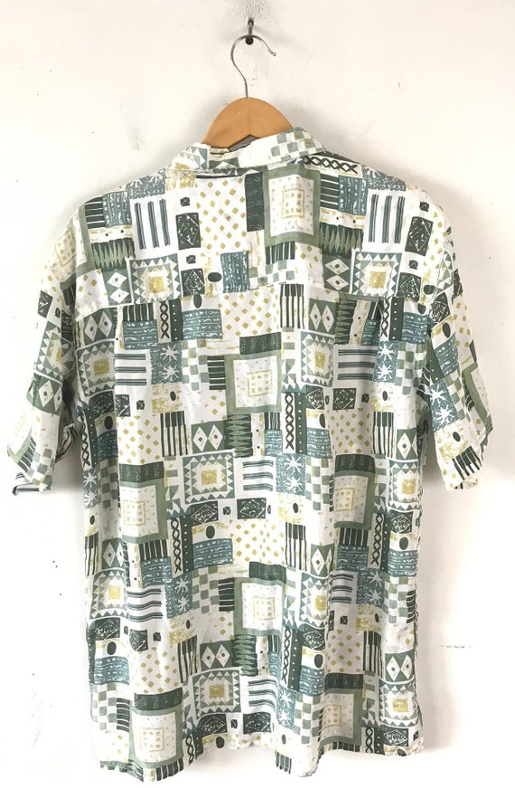 Vintage Abstract Print Silk Shirt, 90s Green & Wh… - image 5