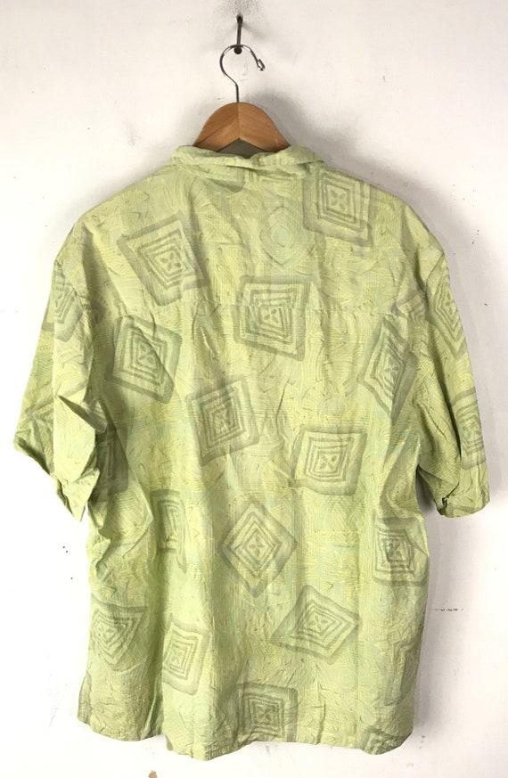 90s Light Green Abstract Print Silk Shirt Mens XL… - image 5