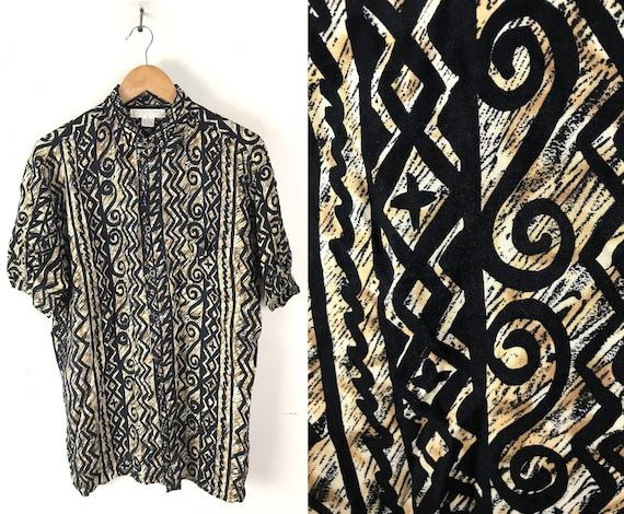 90s Black & Brown Abstract Print Shirt Mens Medium