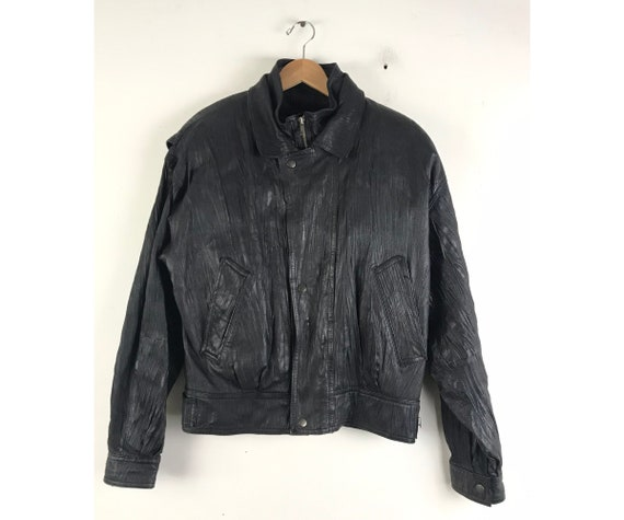 90s Byrnes & Baker Thinsulate Textured Black Leath