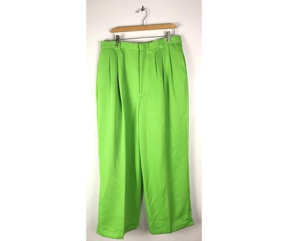 Vintage Lime Green Wide Leg Swing Pants Mens Size