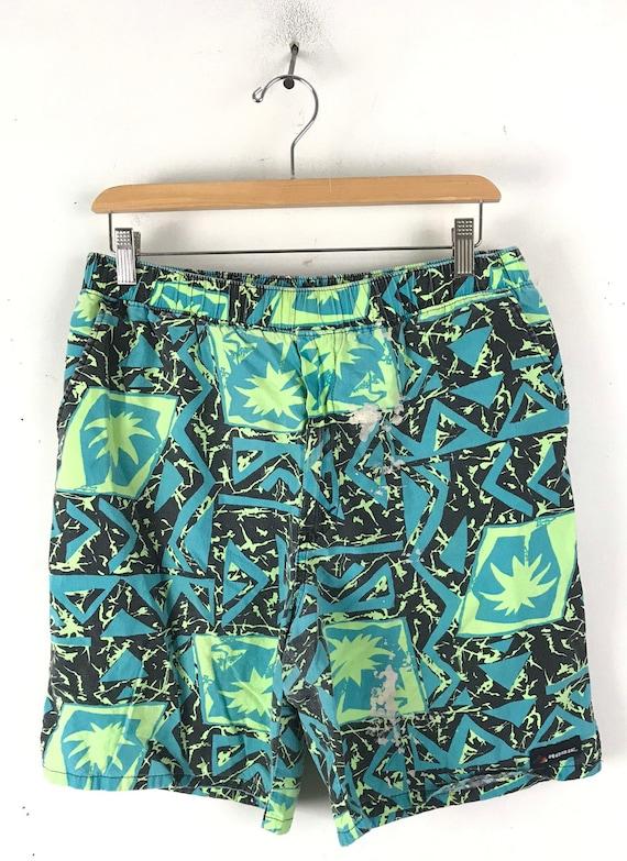 80s Green & Black Abstract Print Shorts Mens Size… - image 2
