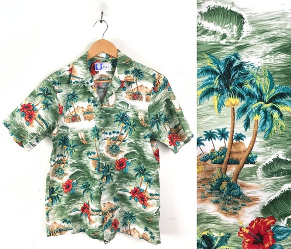 80s Palm Tree Island Hawaiian Shirt Mens Medium, V