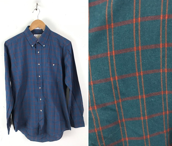 Vintage London Fog Blue Red & Orange Plaid Shirt M