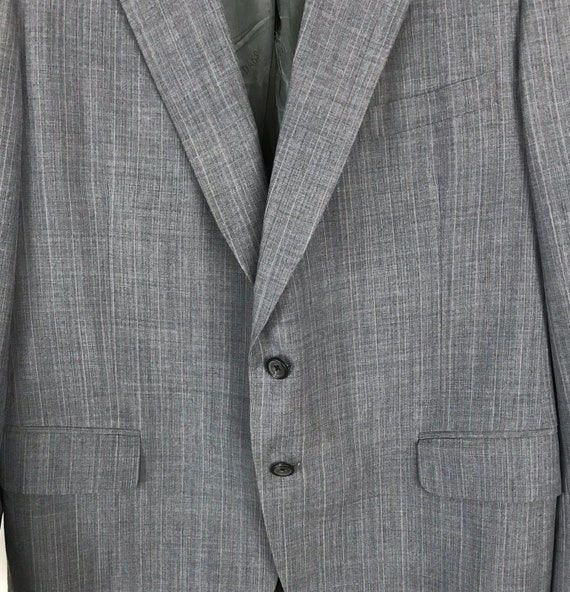 70s Blue Gray Pinstriped Two Piece Suit Mens Size… - image 4