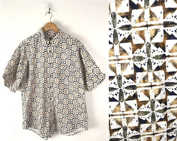 90s Brown & White Abstract Print Button Front Shir