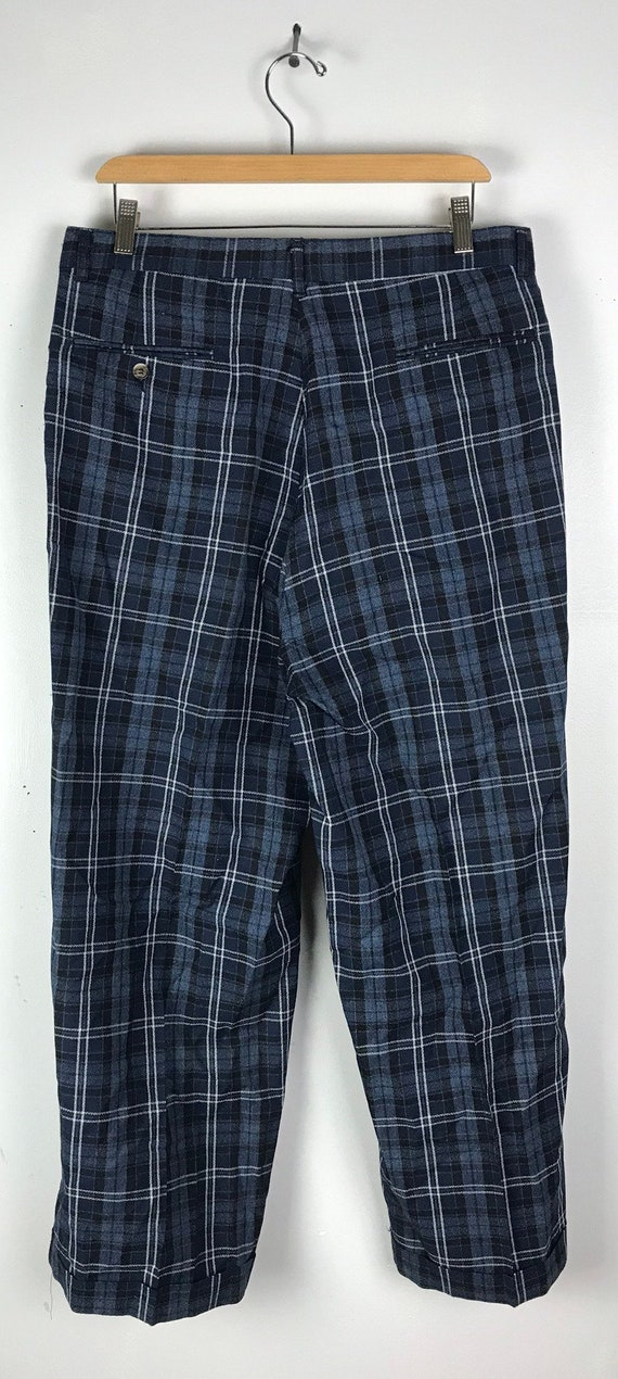 Vintage Dark Blue Plaid Wide Leg Dress Pants Mens… - image 5