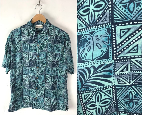 90s Blue Print Hawaiian Shirt Mens Large, Tropical
