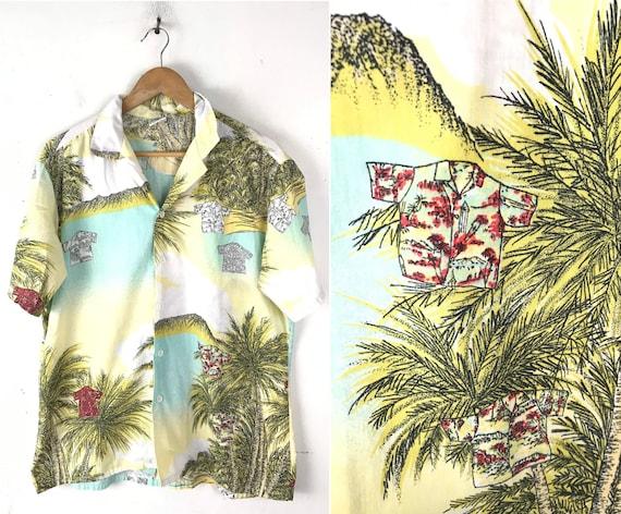 Vintage Hawaiian Shirt Print Shirt Mens Large, Yel