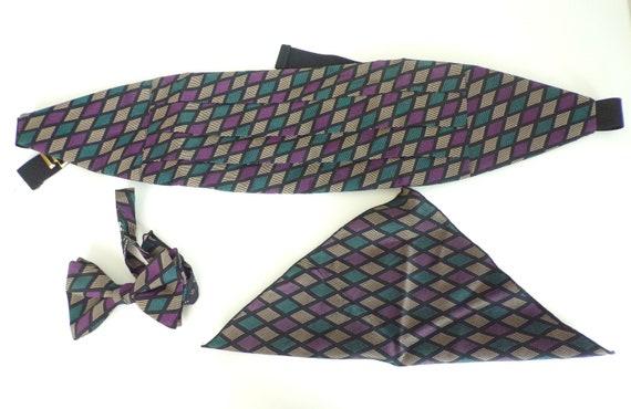Vintage Purple Teal & Tan Bow Tie Set, Bow Tie Cum
