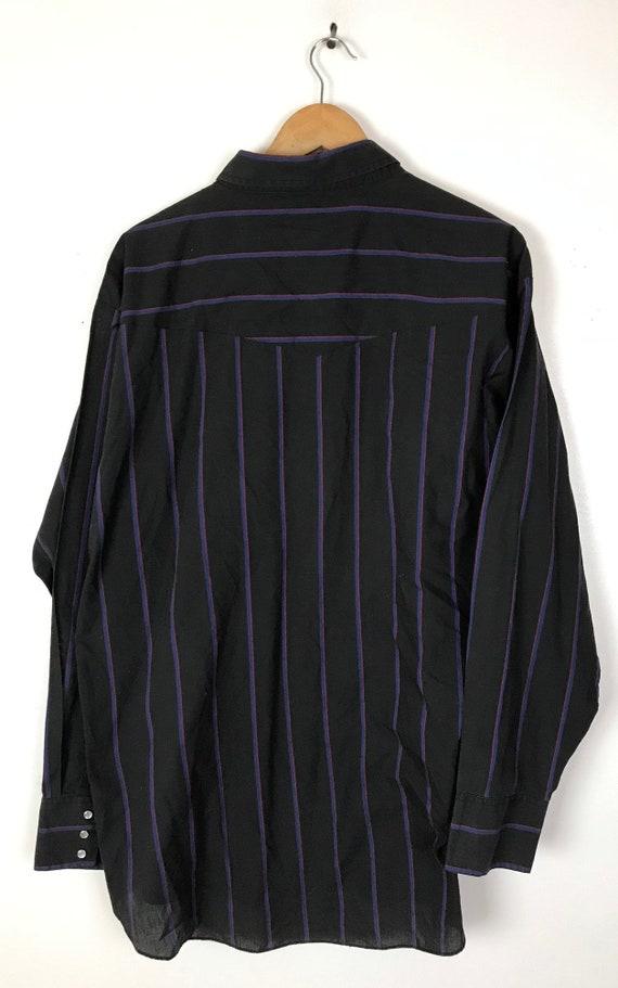 Vintage Black Pink & Blue Striped Western Shirt M… - image 6