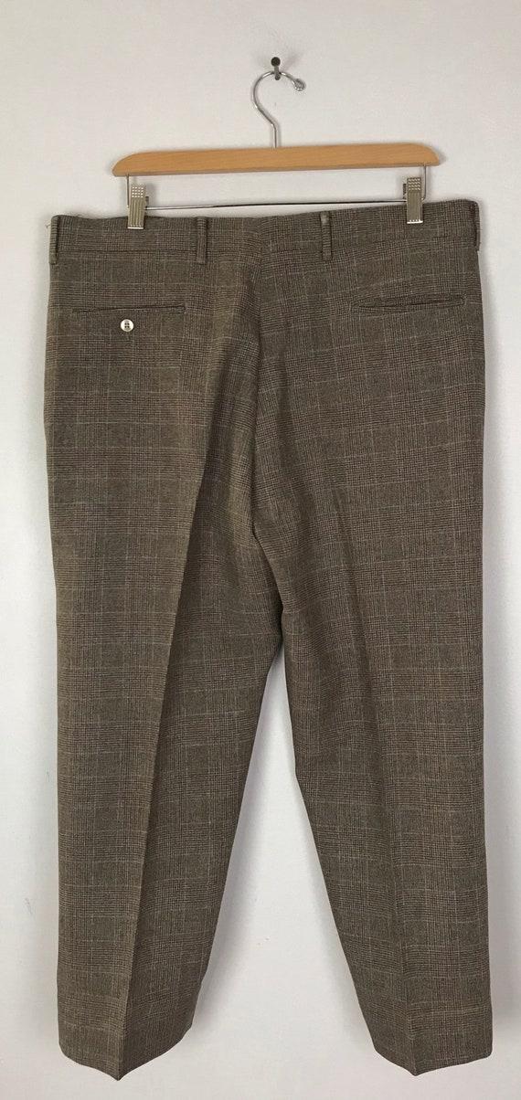 80s Brown & Orange Plaid Cropped Pants Mens Size … - image 4