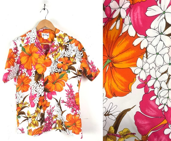 70s Orange & Pink Floral Hawaiian Shirt Mens Mediu