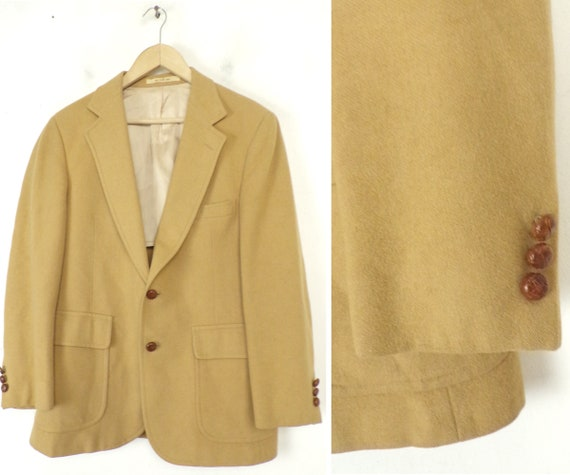 80s Tan Wool Sport Coat Mens Size 38, Tan Sport Co