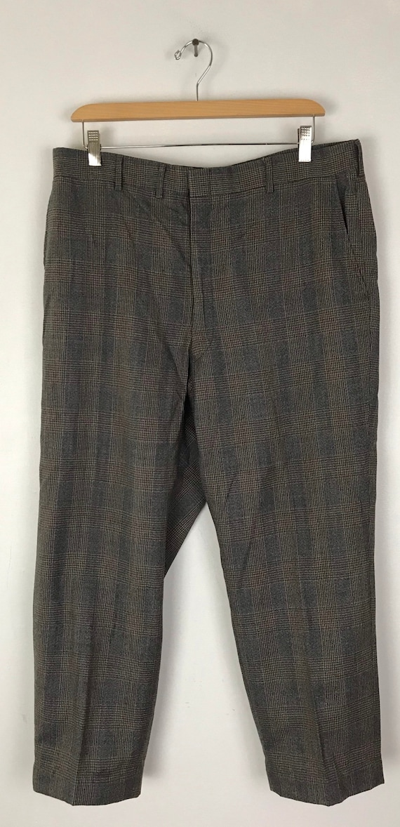 1970s Gray Red & Gold Plaid Cropped Pants Mens Si… - image 2