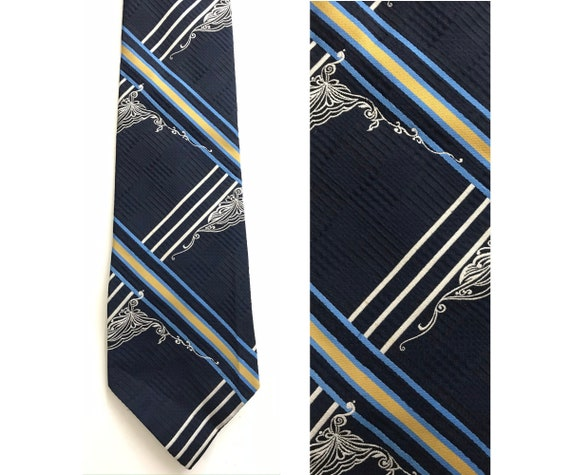 70s Blue Gold & White Abstract Print Wide Tie, Pol
