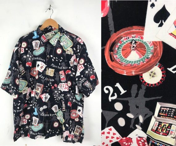 Vintage Casino Blackjack Hawaiian Shirt Mens XXL,