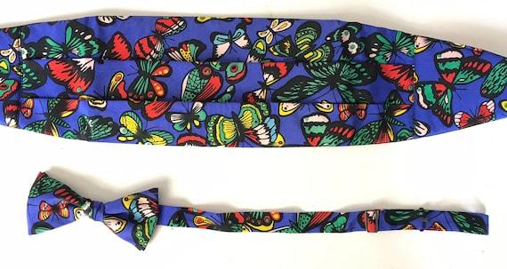 Vintage Colorful Butterfly Cummerbund & Bow Tie, C