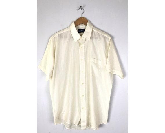 70s Cream Shiny Striped Disco Shirt Mens Size 16 X