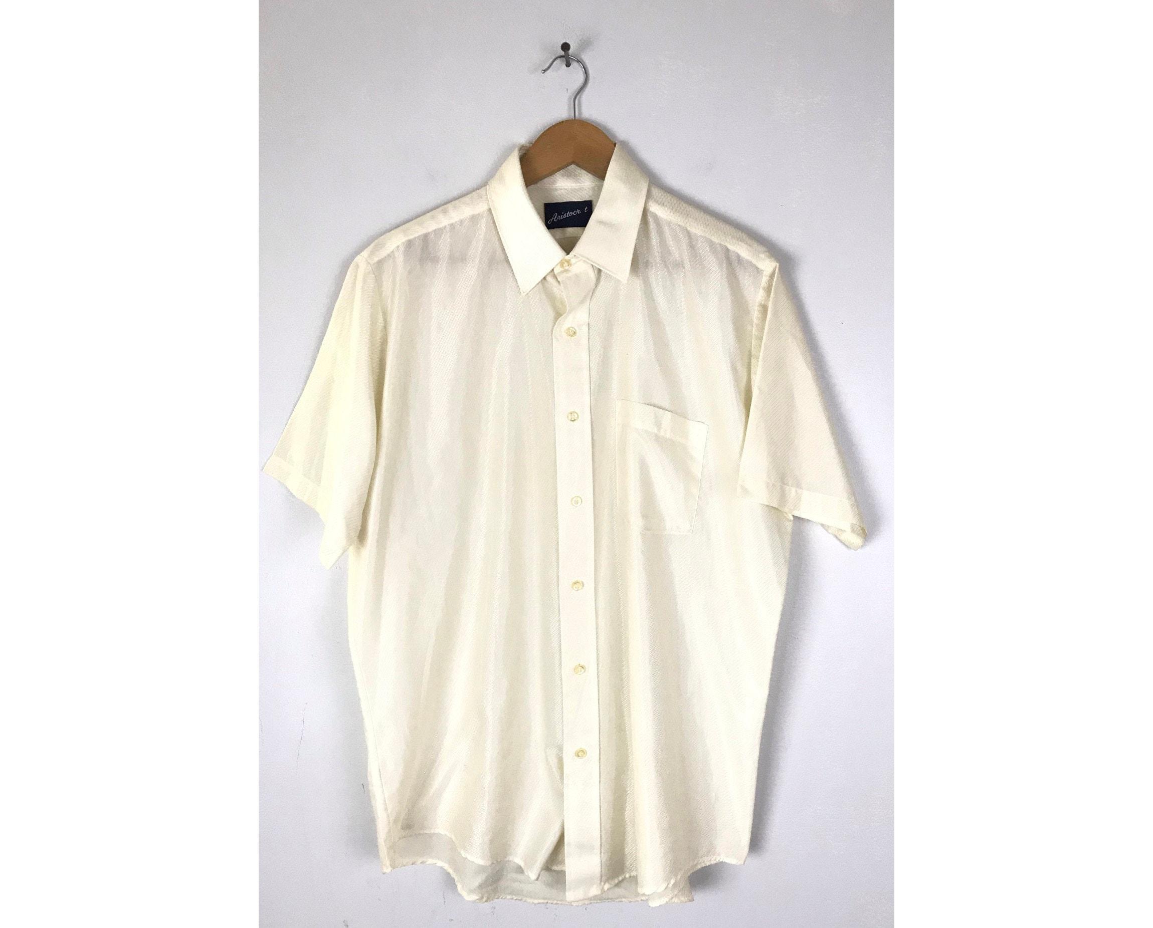 1970s Mens Shirt Styles – Vintage 70s Shirts for Guys 70S Cream Shiny Striped Disco Shirt Mens Size 16 Xl, Vintage Off White Button Down Shirt, 1970S Retro $26.00 AT vintagedancer.com