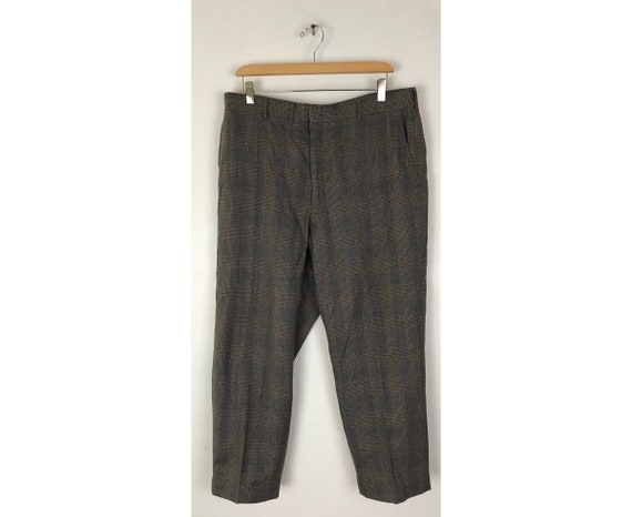 1970s Gray Red & Gold Plaid Cropped Pants Mens Si… - image 1