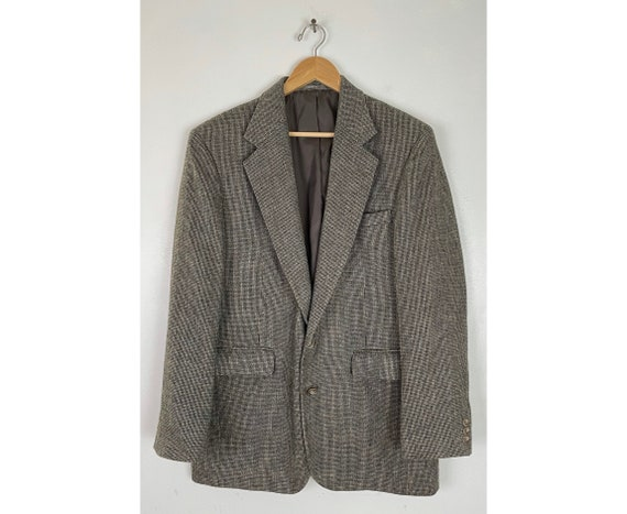 Vintage Gray & Brown Plaid Sport Coat Mens Size 40