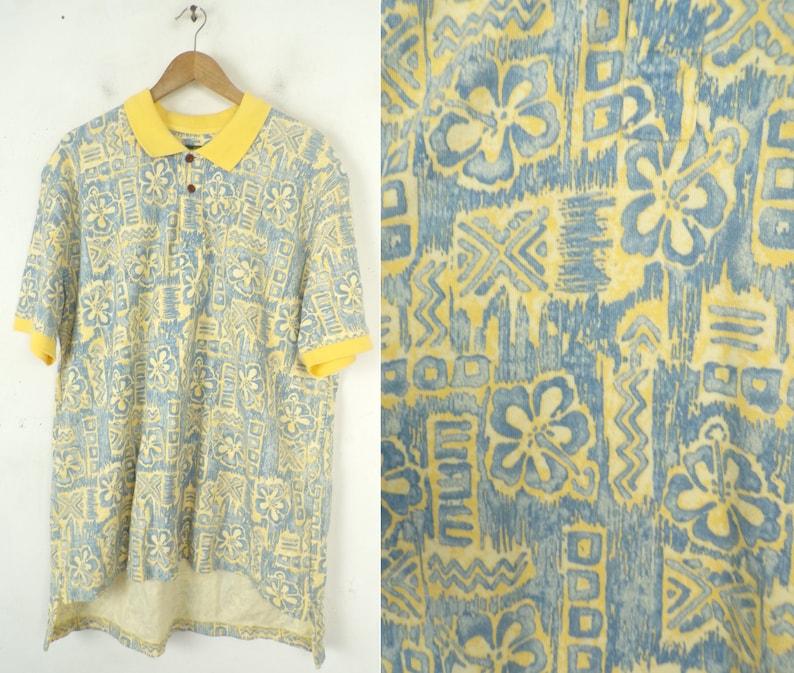 6618f316059 90s Yellow   Blue Hawaiian Print Polo Mens XL Hawaiian Shirt