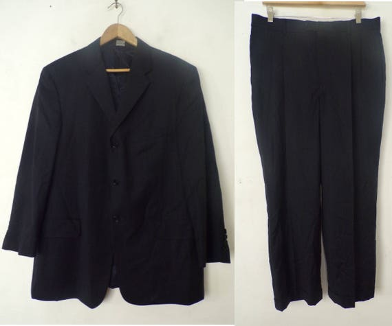90s Claiborne Black Pinstriped Two Piece Suit Mens