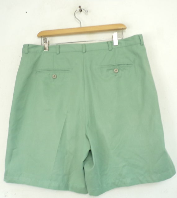 Vintage Mens Shorts, Light Green 38 Waist, Pleate… - image 3