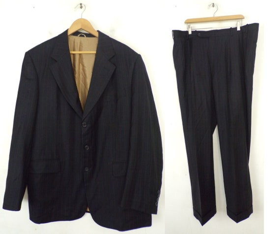 Vintage Black Gold Pinstriped Two Piece Suit Mens