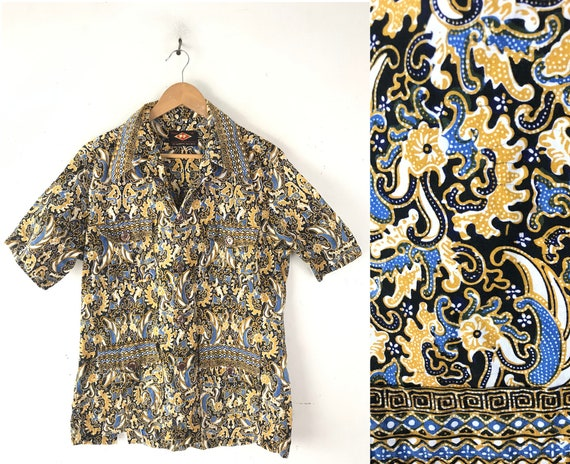 Vintage Gold Black & Blue Abstract Print Shirt Si… - image 1