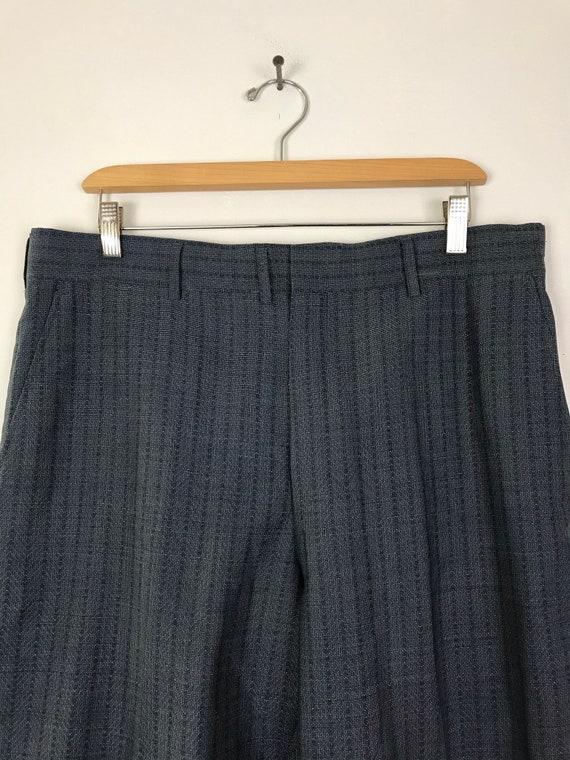 70s Blue Zigzag Print Cropped Dress Pants Mens Si… - image 3